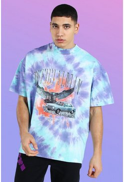 Blue Oversized Heavyweight Printed Tie Dye T-shirt