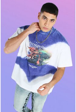 Oversized Heavyweight Printed Tie Dye T-shirt, Purple