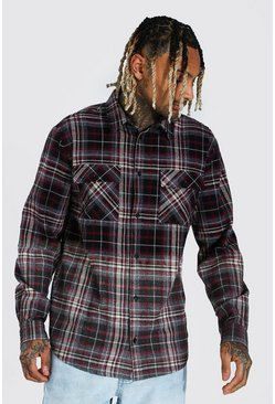 Charcoal Heavyweight Ombre Check Overshirt