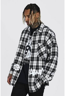 Black Oversized Check Graffiti Print Overshirt