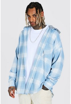Pale blue Heavyweight Oversized Hooded Check Overshirt