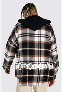 Forest Hooded Graffiti Back Print Check Overshirt