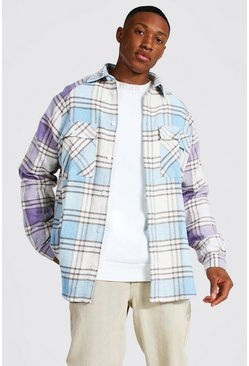 Light blue Oversized Long Sleeve Check Raglan Overshirt