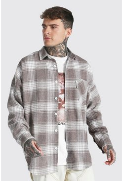 Taupe  Oversized Check Overshirt With Man Tab
