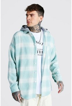 Mint Heavyweight Oversized Hooded Check Overshirt