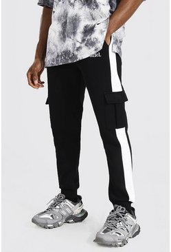 Black Slim Official Side Panel Cargo Joggers