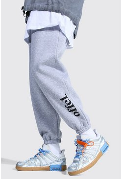 Grey marl Oversized Official Leg Print Joggers
