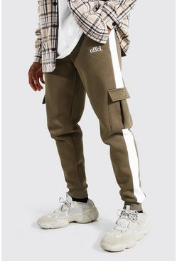 Khaki Slim Official Side Panel Cargo Joggers