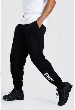 Black Oversized Official Leg Print Joggers