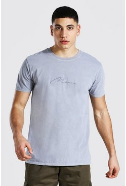 Mid grey Man Signature Overdyed T-shirt