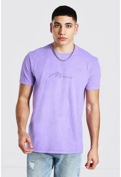 Pale lilac Man Signature Overdyed T-shirt