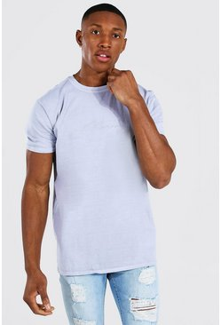 Light grey Man Signature Overdyed T-shirt