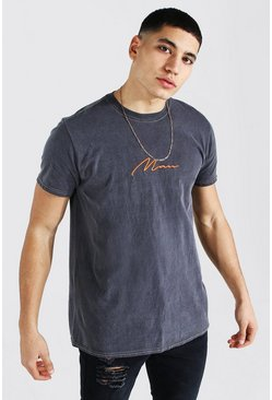 Charcoal Man Signature Contrast Overdyed T-shirt