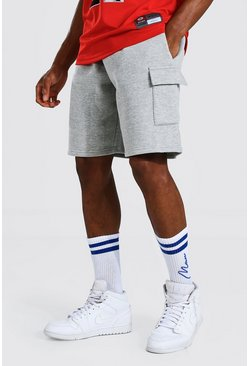 Grey marl Basic Mid Length Loose Cargo Jersey Shorts