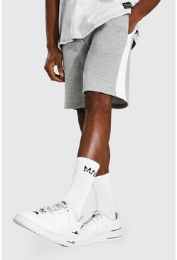 Grey marl Basic Mid Length Side Panel Jersey Shorts