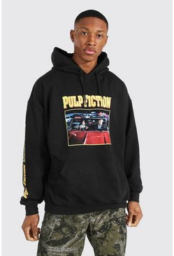 Black Oversized Pulp Fiction Sleeve License Hoodie