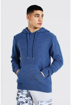 Dusty blue Knitted Over The Head Hoodie