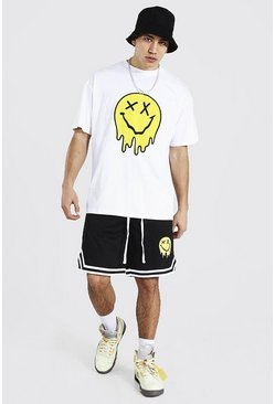 White Oversized Drip Face Tee & Airtex Short Set
