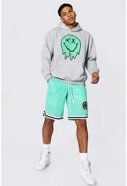 Green Oversized Drip Face Hoodie & Airtex Short Set