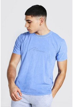 Cornflower blue Man Signature Overdyed T-shirt