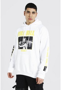 White Oversized Kill Bill Sleeve License Hoodie