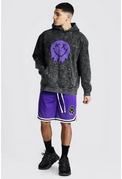 Purple Oversize Acid Wash Drip Hoodie & Airtex Short