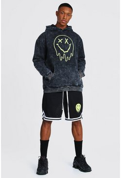 Charcoal Oversize Acid Wash Drip Hoodie & Airtex Short