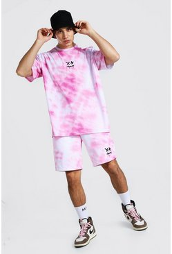 T-shirt oversize et short tie-dye smiley, Pink