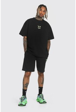 Black Oversized Drip Face T-shirt & Short Set