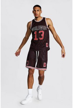 Black Tall Worldwide Mesh Basketball Short Set