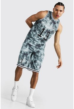 Dark grey Tall Worldwide Mesh Basketball Short Set