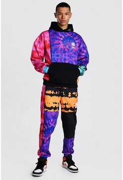 Multi Tall Oversized Man Tie Dye Hooded Tracksuit