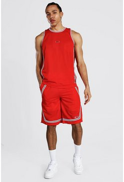 Red Tall Mesh Basketball Short Set