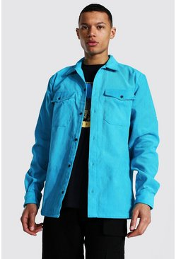 Aqua Tall Corduroy Button Through Overshirt