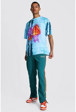 Tall Oversized Tie Dye Tee With Popper Jogger, Blue