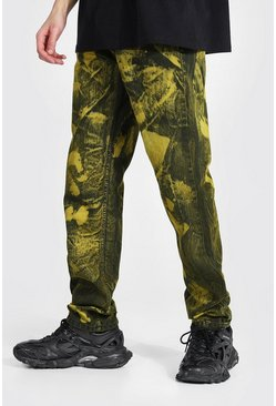 Yellow Tall Straight Leg Jean With Tie Dye