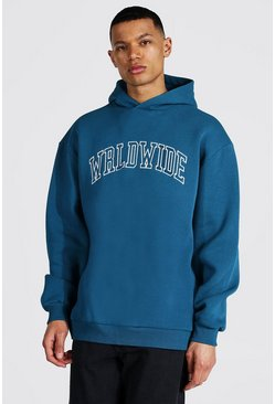 Slate blue Tall Oversized Worldwide Hoodie