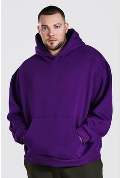 Purple Plus Size Heavyweight Offcl Emb Hoodie