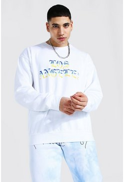 White Oversized Los Angeles Ombre Print Sweatshirt