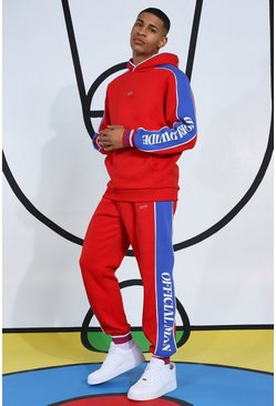 Red Tracksuit With Side Tape And Hood Detail