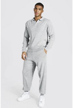 Grey marl Long Sleeve Knitted Polo & Jogger Set