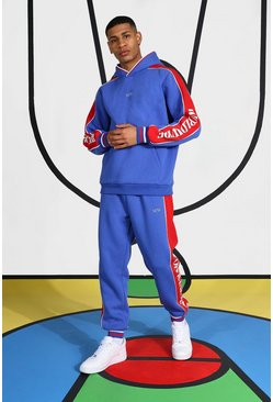 Blue Tracksuit With Side Tape And Hood Detail