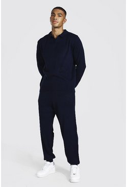 Navy Long Sleeve Knitted Polo & Jogger Set