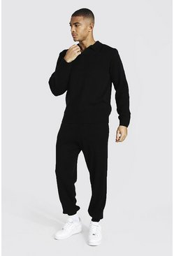 Black Long Sleeve Knitted Polo And Jogger Set