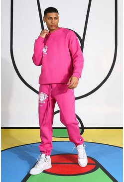 Courtside Tracksuit With Extended Neck, Pink