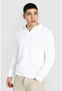 White Long Sleeve Revere Collar Knitted Polo