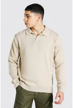 Stone Long Sleeve Revere Collar Knitted Polo