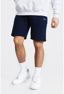 Navy Man Signature Mid Length Regular Jersey Short