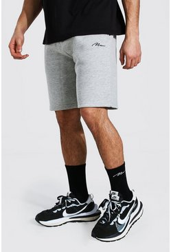 Grey marl Man Signature Mid Length Regular Jersey Short