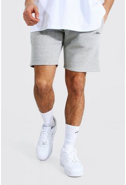 Grey marl Man Signature Mid Length Slim Jersey Shorts